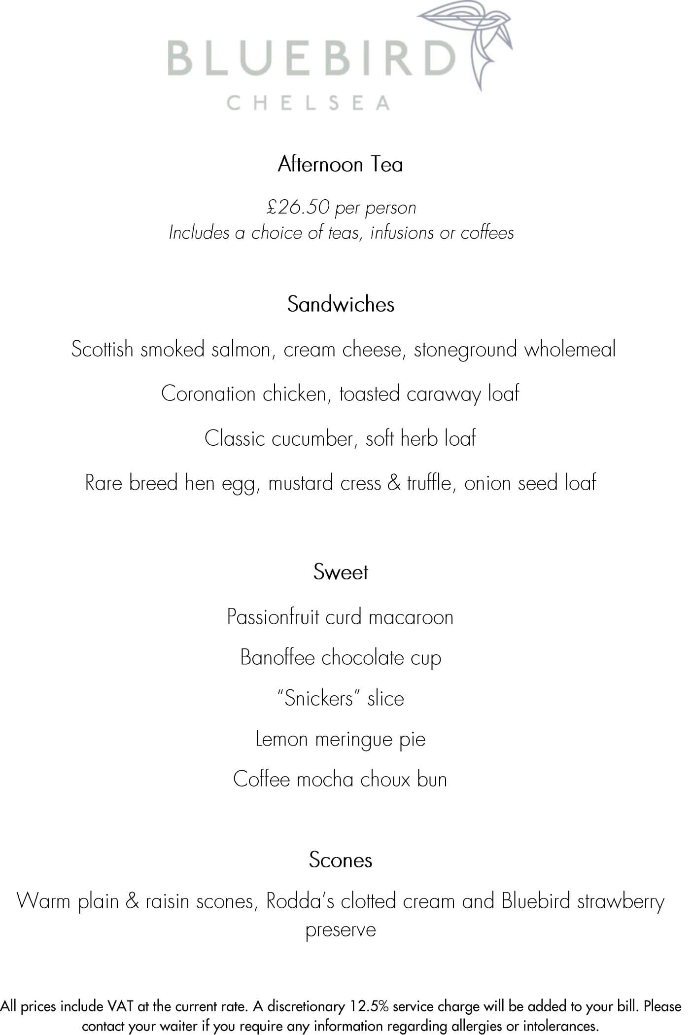 Bluebird Chelsea Afternoon tea menu
